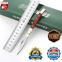 New Folding Pocket Knife 8cr13mov  Stainless Steel Blade Wood Handle Edc Hunting