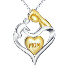Mom&Child 14K Gold Love Heart 925 Sterling Silver Pendant Necklace Gifts For Mom