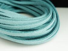 5m x 3mm TURQUOIS BLUE FAUX Imitazione Pelle Scamosciata Cavo Tanga Pizzo DELLA COLLANA F74