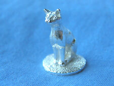 SILVER CAT MODEL.  HALLMARKED SILVER SHORT HAIRED CAT FIGURE MADE IN ENGLAND