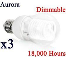 3 x Aurora Energy Saving 8W Dimmable Light Bulb GLS CCFL Lamp E27 ES Warm White