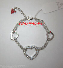 GUESS Exclusive Triple Open Heart Bracelet Rhinestones Silver Tone Gift Pouch