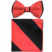 New Men's Two Tones Pre-tied Bow Tie & Hankie Set Coral & Black formal