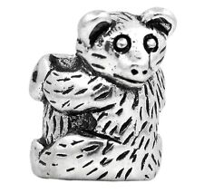 Bear on a Log Woodland Animal Camping Bead for Silver European Charm Bracelets