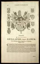 GUILLAUME MARQUIS DE BADEN Blasons Heraldique 1667