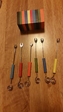 7 PC SET HORS D'OEUVRE FORKS WITH WOOD HOLDER PICKLES OLIVES NEW IN BOX Gift
