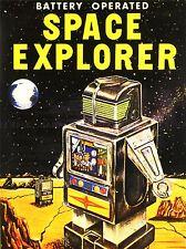 Anuncio de juguete con pilas Space Explorer Robot Art Poster Print lv263