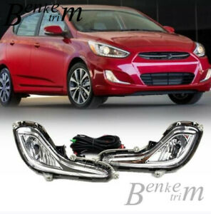 FIT for 2012-2017 Hyundai Accent Front fog lamp Drive lamp Harness switch kit