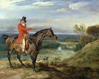 English Fox Hunt On Horseback Oil Painting Horse Real Canvas Art Print
