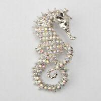Kristall Diamante Strass Seepferdchen Anhänger Brosche Pin Hochzeit Braut