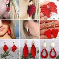 Fashion Red Heart Geometric Earrings Women Gold Bow Drop Dangle Jewellery Gifts