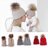 Mother Women Baby Child Winter Warm Knit Beanie Fur Pom Hat Crochet Ski Cap 2Pcs