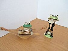 Lot of 2~Seashell Frog Figurines~Trumpet Frog~Canoe Frog