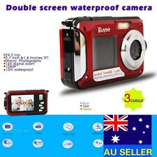 DOUBLE SCREEN HD 24MP WATERPROOF DIGITAL VIDEO CAMERA 1080P DV,RED,UNDERWATER