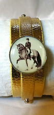 Leather SNAP BRACELET Horse Snap DRESSAGE PIAFFE Black Gold Sft White *BUBBLES*