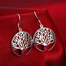 1Pair 925 Silver Plated Elegant Women's Tree of Life Drop Dangle Earrings FR