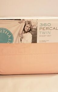 Martha Stewart TWIN size Percale 360 Thread Count Sheet Set Pink New