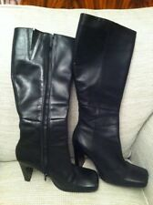 """LADIES BLACK LEATHER BOOTS SIZE 5: 38. 3"""" High,1/2"""" wide Heels./price Reduced."""