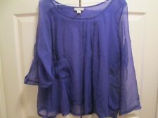 Chris Benz Indigo Blue 100% Silk Flowing Tunic Top Adjustable Sleeve Sz 8 Medium