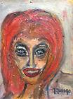 Expressionniste peinture portrait femme signée Jungo 2ème moitié XXème