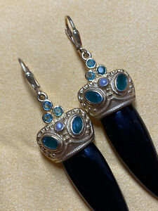 Long Onyx Earrings Emerald Gold Plated with Pearls 925 Silver