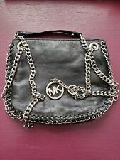 Michael Kors Chelsea Leather Black Messenger Bag Small Chain Strap