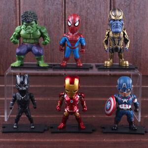 6Pcs Marvel Avengers End game Iron Man Thanos Action Figure Model Cake Topper