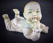 """Ancienne XIXè s 1891 - statuette en biscuit de porcelaine peint main  """"Bébé «"""