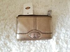 Fossil Marlow Zip Coin Leather Metallic Gold Wallet Silver-tone NWT