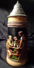 """German Beer Stein Original King 1/2 Liter with Lid 9"""" Vintage"""