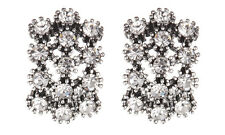 CLIP ON EARRINGS -  antique silver stud earring with clear crystals - Kambo