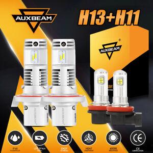 AUXBEAM H13+H11 FANLESS Combo LED Headlight Bulbs Kit 6500K Hi-Low Beam&Fog Lamp