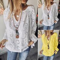 ZANZEA Women Lantern Sleeve Shirt Tops V Neck Hollow Out Lace Detail Blouse Plus