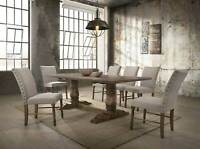 NEW 7 piece Traditional Brown Dining Room Rectangular Table and 6 Chairs Set CBA