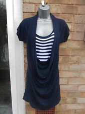 PLANET ladies womens navy blue stripy dress long top size M 10 nautical casual
