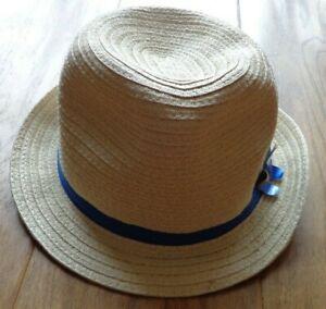 GYMBOREE girl's EUC sz L fedora straw hat w/blue strap & butterfly