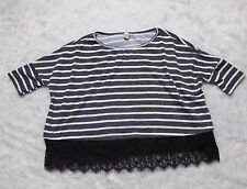 Anthropologie Paper Crane Boho Top Sweater Lace Stripe Doleman Gray White Sz S M