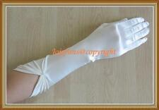 Satin WHITE LONG FINGERED PARTY/PROM/BRIDAL/FANCY GLOVE & diamante,15.7""