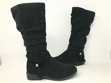 NEW! SO Youth Girls Ellen Tall Zipper Fringe Boots Black #213532 191FGHiJK tk