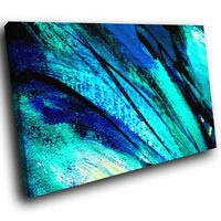 AB479 Blue Teal Black Cool Modern Abstract Canvas Wall Art Large Picture Prints