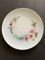 J & C BAVARIA HAND PAINTED Pink flowers PORCELAIN PLATE 8.5""