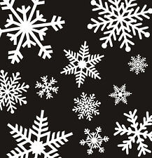32 LARGE WHITE REUSABLE CHRISTMAS SNOWFLAKE WINDOW STICKERS DECORATIONS