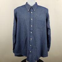 Charles Tyrwhitt Weekend Classic Men's Heathered Blue L/S Button Shirt Sz Large