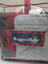 Rugged Bear Kids Red Black Gray Plaid Reversible Cotton Jersey Quilt Set - Twin