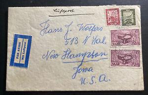 1952 Schafbrucke Saar Airmail Cover To New Hampton IA USA Sc#218