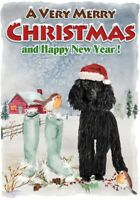 "Poodle Black Dog A6 (4"" x 6"") Christmas Card - Blank inside Design by Starprint"