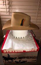 Vintage NIB Stetson Western Cowboy Hat Camel Tan Color 4X Beaver Size 6 7/8