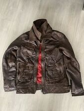 SUPERDRY Tarpit Premium LEATHER JACKET Brown  Distressed Large Great Condition