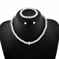 Wedding Bridal Pearls Pave CZ Rhinestone Balls Necklace Earrings Bracelet Set