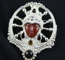 NEW! Sajen Carved Red Jasper Face Garnet,Citrine Pendant/Pin Sterling Silver 925